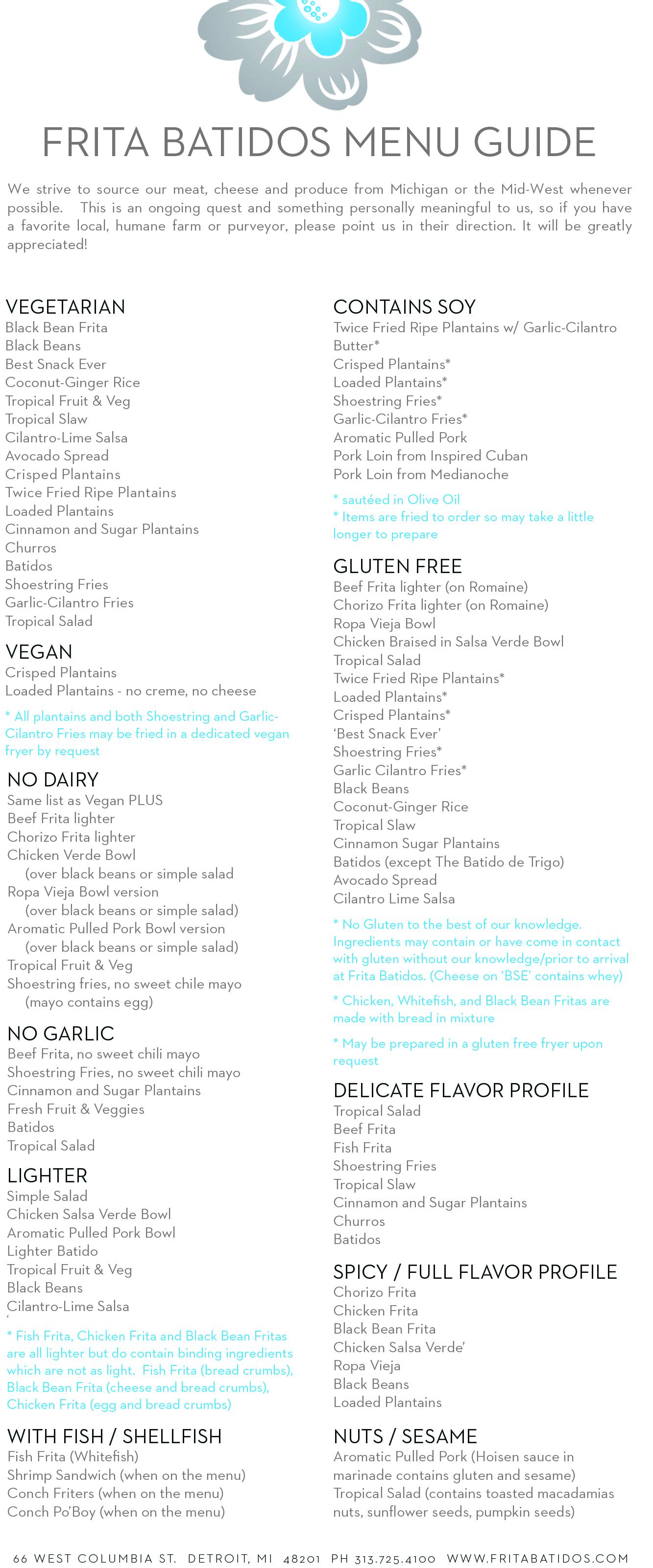 Frita Menu Guide 1
